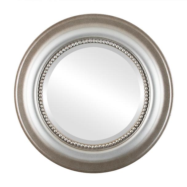 Beveled Mirror - Heritage Round Frame - Silver Shade