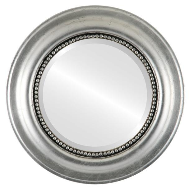 Beveled Mirror - Heritage Round Frame - Silver Leaf with Black Antique