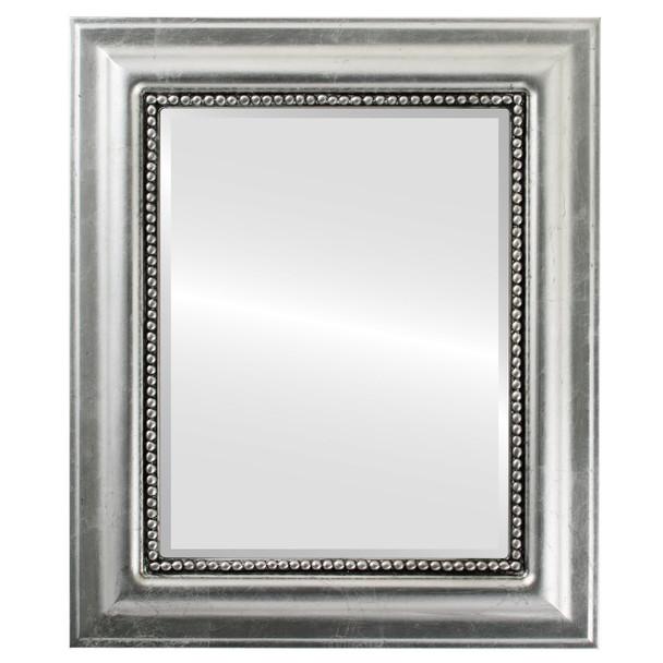 Beveled Mirror - Heritage Rectangle Frame - Silver Leaf with Black Antique