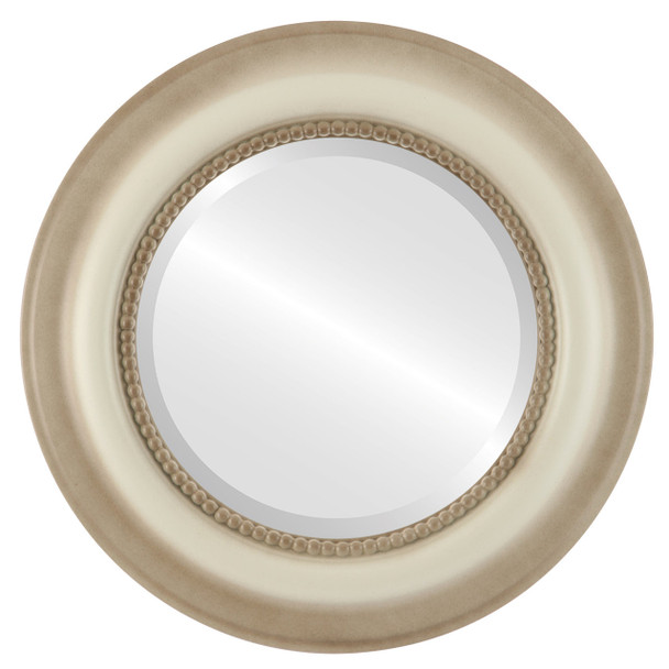 Beveled Mirror - Heritage Round Frame - Taupe
