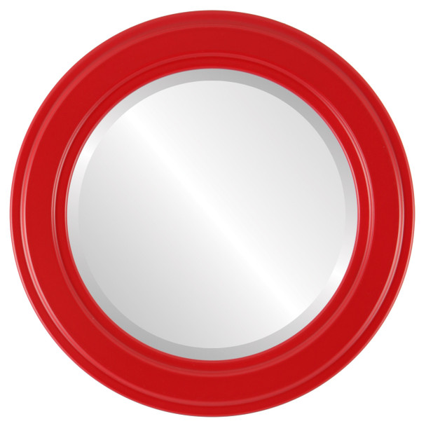 Beveled Mirror - Wright Round Frame - Holiday Red