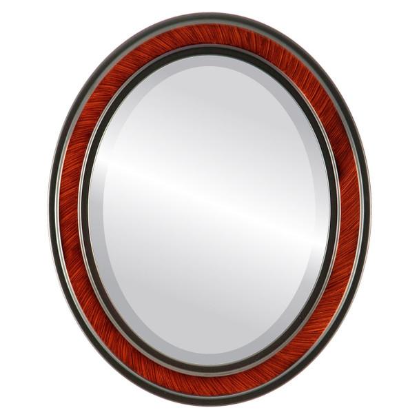Beveled Mirror - Wright Oval Frame - Vintage Cherry