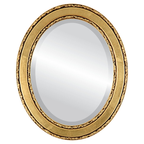Beveled Mirror - Monticello Oval Frame - Gold Leaf