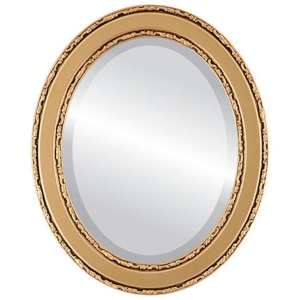 Beveled Mirror - Monticello Oval Frame - Gold Spray