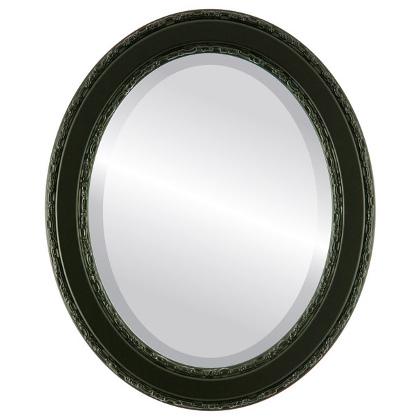 Beveled Mirror - Monticello Oval Frame - Matte Black