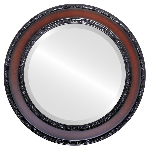 Beveled Mirror - Monticello Round Frame - Rosewood