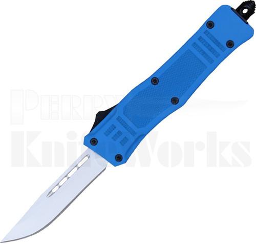 Delta Force Mini OTF Automatic Knife Blue l Bead Blast Drop Point Blade