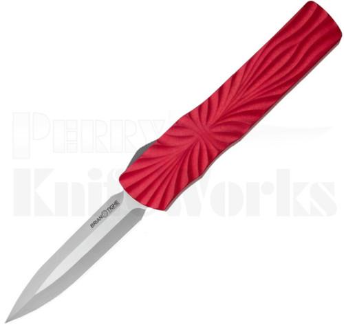 Brian Tighe & Friends Twist Tighe Auto Knife Red l Double Edge l For Sale