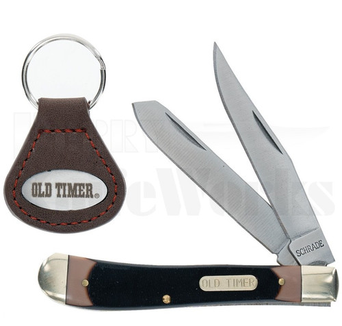 Schrade Old Timer Trapper Knife w/Keychain Set l For Sale