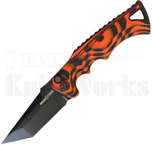 Brian Tighe & Friends Tighe Fighter Tanto Automatic Knife Orange/Black l For Sale