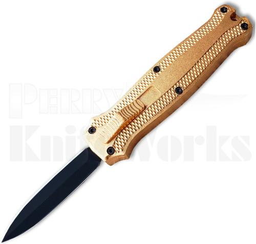 Coffin Blaster Mini OTF Automatic Knife Gold l Black Dagger l For Sale
