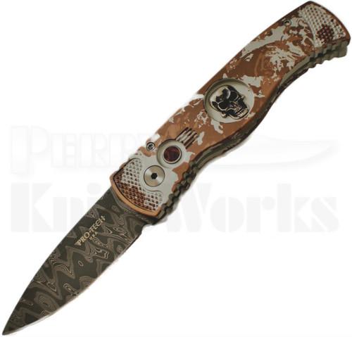 Protech Custom TR-2 Skull P.K. Splash Automatic Knife (Damascus)