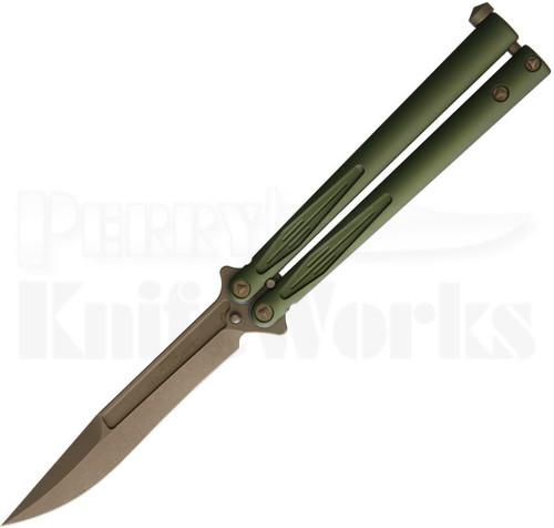 Microtech Tachyon III Green Butterfly Knife Bronze Blade 173-13OD