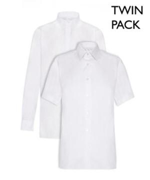 Boys Junior Short-Sleeve White Shirt - TWIN PACK