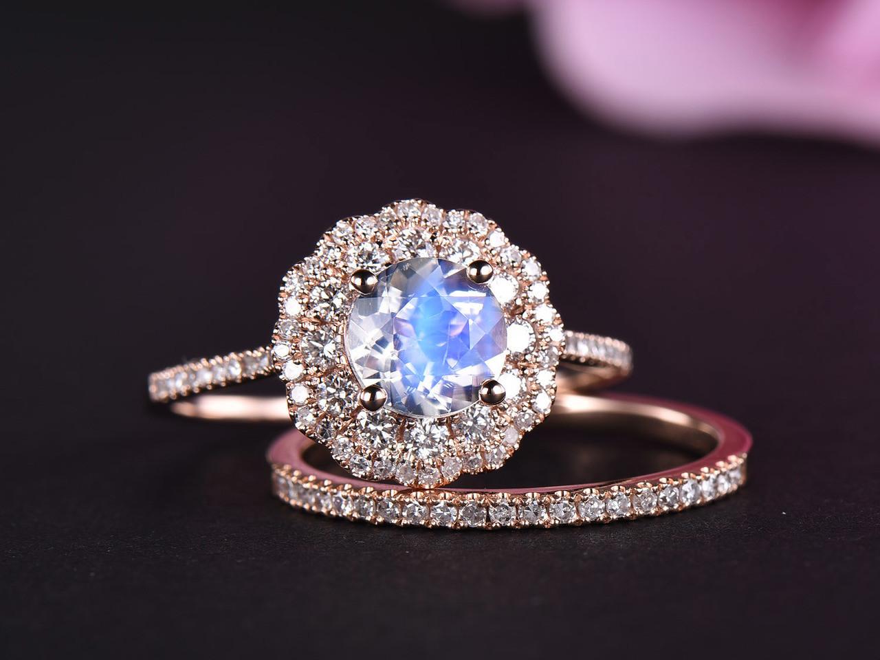 f0b80026162 Round Moonstone Engagement Ring Set Full Cut Diamond Wedding Band 14k Rose  Gold 6.5mm