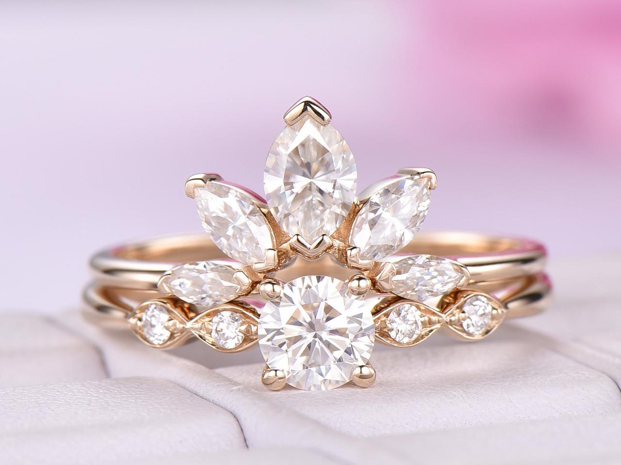 Moissanite Wedding Ring Diamond Alternative Engagement Ring Tiara Ring Moissanite Crown Engagement Ring Sterling Silver Crown Ring