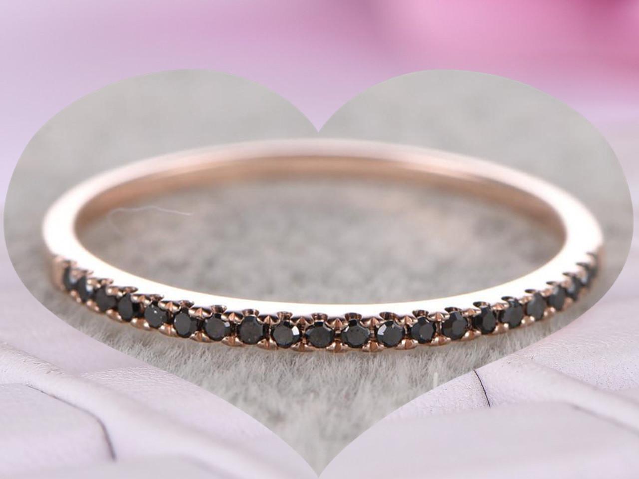 Black Diamond Wedding Band.Pave Black Diamond Wedding Band Half Eternity Anniversary Ring 14k Rose Gold