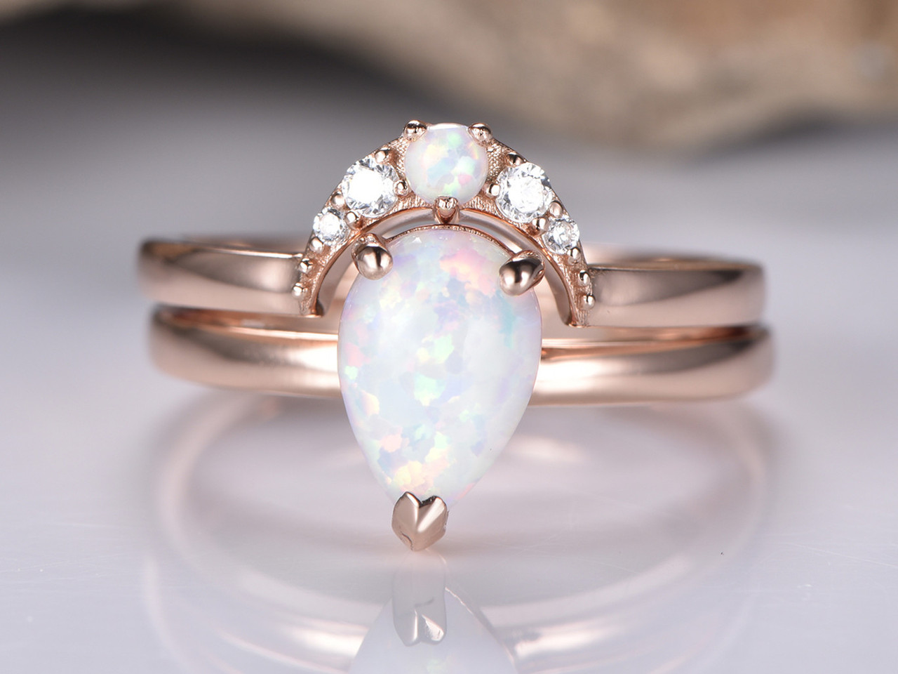 Opal Wedding Band.2pc Bridal Set Pear Opal Wedding Moissanite Crescent Band 14k Rose Gold 6x8mm