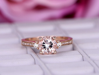 Round Morganite Diamond Engagement Ring 14K Rose Gold 6.5mm