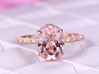 3ct 8x10mm Oval Morganite Engagement Ring 14K Rose Gold Milgrain Under Gallery