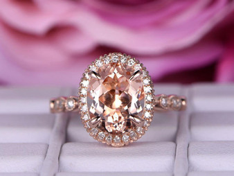 3ct Milgrain Under Gallery Oval Morganite Engagement Ring 14K Rose Gold 8x10mm