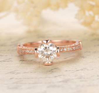 Round FB Moissanite Engagement Ring Diamond Wedding 14K Rose Gold 6.5mm