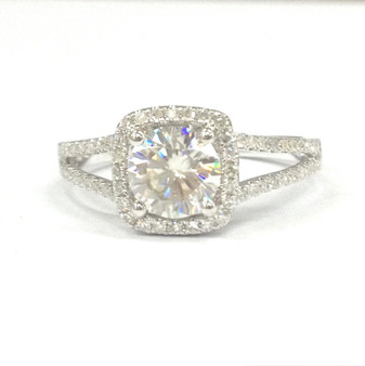 Round FB Moissanite Engagement Ring Pave Diamond Wedding 14K White Gold 7mm