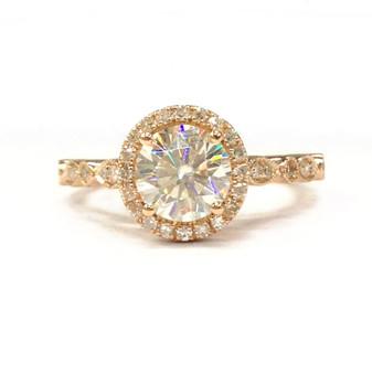 Round Moissanite Engagement Ring Diamond Halo 14K Rose Gold 6.5mm