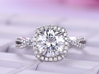 Round FB Moissanite Engagement Ring Diamond Wedding 14K White Gold 7.5mm