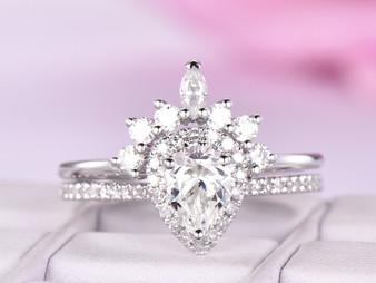 2pc Bridal Set,Pear Moissanite Engagement Ring Moissanite Tiara Band 14K Rose Gold 5x7mm