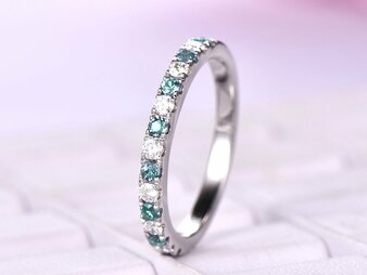 Alexandrite Diamond Band Half Eternity Ring 14K White Gold 2mm  April/June Birthstone