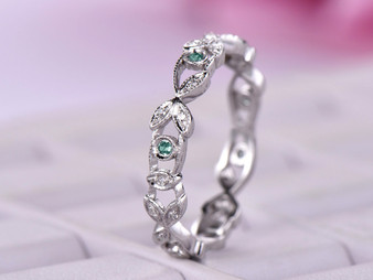 Eternity Vine Ring Alexandrite Diamond Wedding Band 14K White Gold