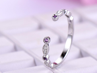 Open End Amethyst Diamond Wedding Band Half Eternity Anniversary Ring 14K White Gold