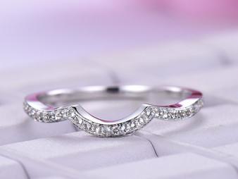 Aquamarine Wedding Band Half Eternity Anniversary Ring 14K White Gold