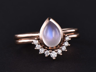 2pc Bridal Set,6x8mm Pear Moonstone Engagement Ring Diamond Contour Wedding Band 14k Rose Gold
