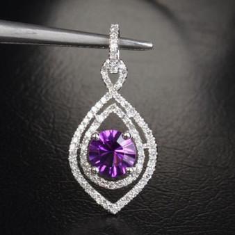 6mm Round VS Dark Amethyst Diamond 14k White Gold Pendant For Necklace