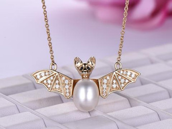 14K Yellow Gold Pearl Moissanite Bat Pendant and 18K Yellow Gold Adjustable Chain