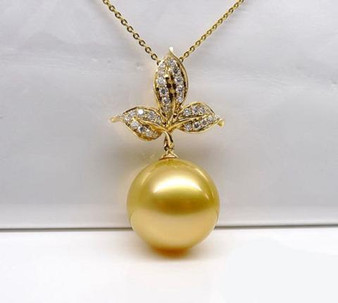 10mm South Sea pearl 14K Yellow Gold VS-SI Diamonds pendant For Necklace