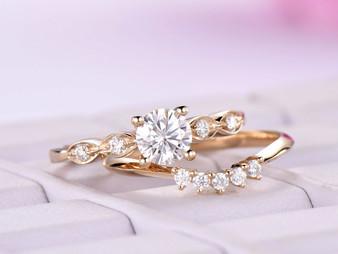 5mm Round Moissanite Engagement Ring Set Moissanite band 14K Yellow Gold
