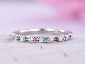 Amethyst Emerald Diamond Band Feb/May Birthstone Half Eternity Ring 14K White Gold