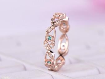 Eternity Vine Ring Alexandrite Diamond Wedding Band 14K Rose Gold