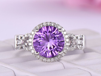 Round Amethyst Engagement Ring Baguette Diamond shank 14k White Gold 10mm