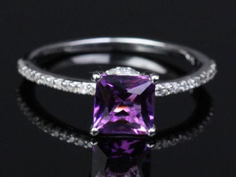 Princess Amethyst Engagement Ring Pave Diamond Wedding 14K White Gold 6.5mm