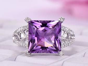 Princess Amethyst Engagement Ring Pave Diamond Wedding 14k White Gold 10mm