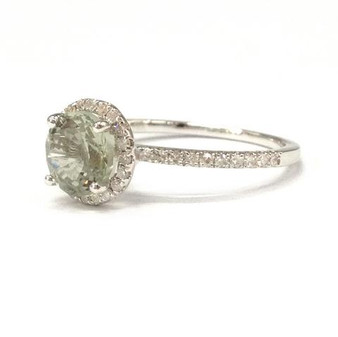 Round Green Amethyst Engagement Ring Pave Diamond Wedding 14K White Gold 7mm