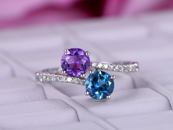 Round London Blue Topaz and Amethyst Engagement Ring Pave Diamond Wedding 14K White Gold 5mm