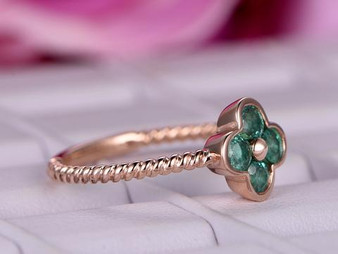 Round Natural Emerald Engagement Ring 14K Rose Gold Lucky Clover