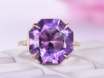 13mm Octagonal Amethyst Ring Art Deco Bands Milgrain Under Gallery 14K Yellow Gold