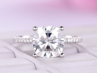 8mm FB Cushion Moissanite Engagement Ring 18K White Gold Moissanite Under Halo