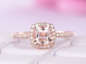 Cushion Morganite Engagement Pave Diamond Ring 14K Rose Gold 7mm